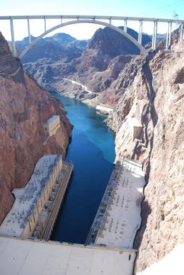 Photo of   View on top of Hoover Dam showing bridge