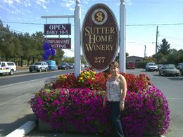 My wife Soraia outside of Sutter Home, beautiful flowers all around the house. , RENATO D - October 2011