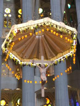 This is the suspended crucifixion above the altar at Sagrada Familia. Amazing. , GARY S - June 2012