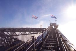 Approaching the flags right at the top of the bridge. You can see how wide the path is. , Norman H - December 2012