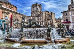 Here is the fountain at plaza de la virgen. The rear of Valencia cathedral can be seen behind it. , David Lally - May 2015