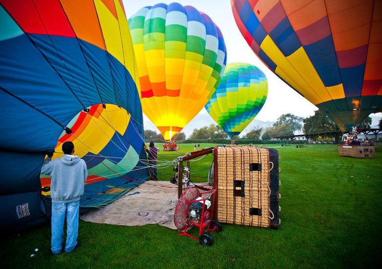 Filling up the balloons! - Napa & Sonoma