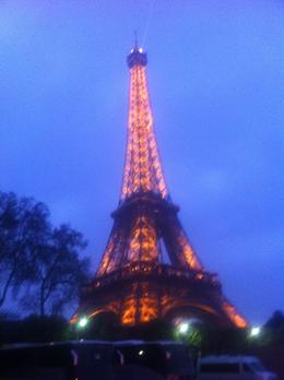 Eiffel Tower lite up from the boat during the Seine River Cruise , Linda R - April 2012