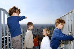 Kids overlook Paris from the Montparnasse Tower - January 2010