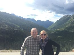 My dad and I at one of the many beautiful stops on the White Pass Summit Excursion. Photo cred. by our awesome tour guide, Tyler T-Bone. , Karen B - August 2015