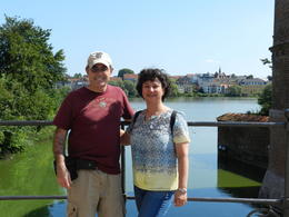 Pam and Jay Poster on the bridge with the picturesque town in the background! , Pamela P - August 2014
