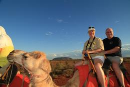 Lynda and Tom on our camel and quot;Spinnifax and quot;. , Lynda S - December 2013