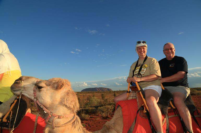 Lynda and Tom on our camel and quot;Spinnifax and quot;.