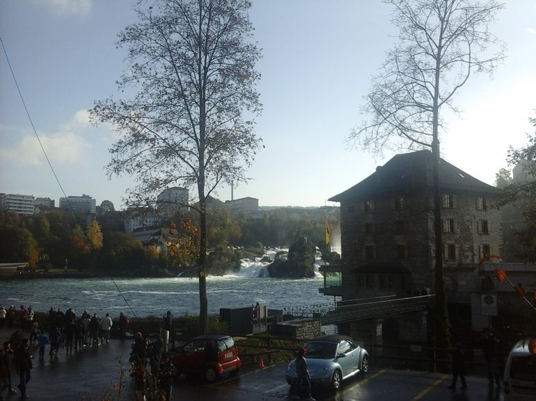 View from carpark toward Rhine Falls
