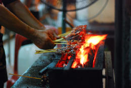 Satays being made - July 2012