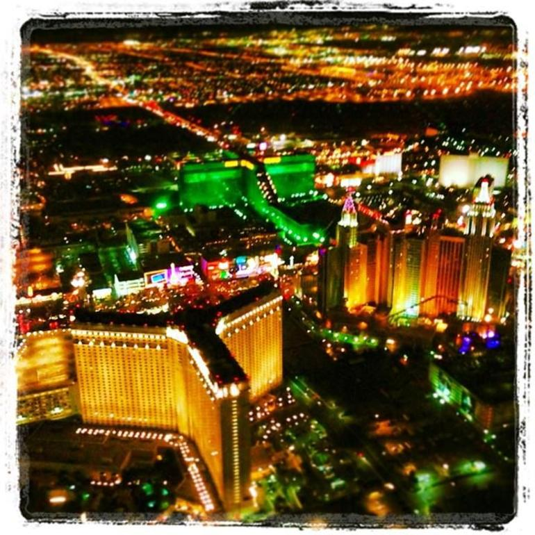 A view of the MGM, Monte Carlo, and NYNY from the Helicopter - Las Vegas