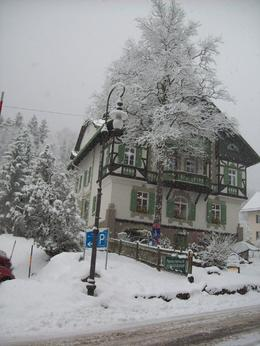 Snow covered shops in the town below the castle, Ian M - January 2011