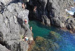 A cliff jumping spot in Monterosso. It's on the south end of the beach area. Go take a few jumps for me, I didn't have enough time! , Curtis M - July 2013