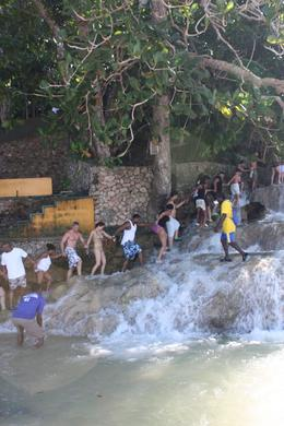 Our group climbing the falls, this is optional and there is a path from the base to the top for those who wish to keep their feet on dry land., Louise M - November 2009