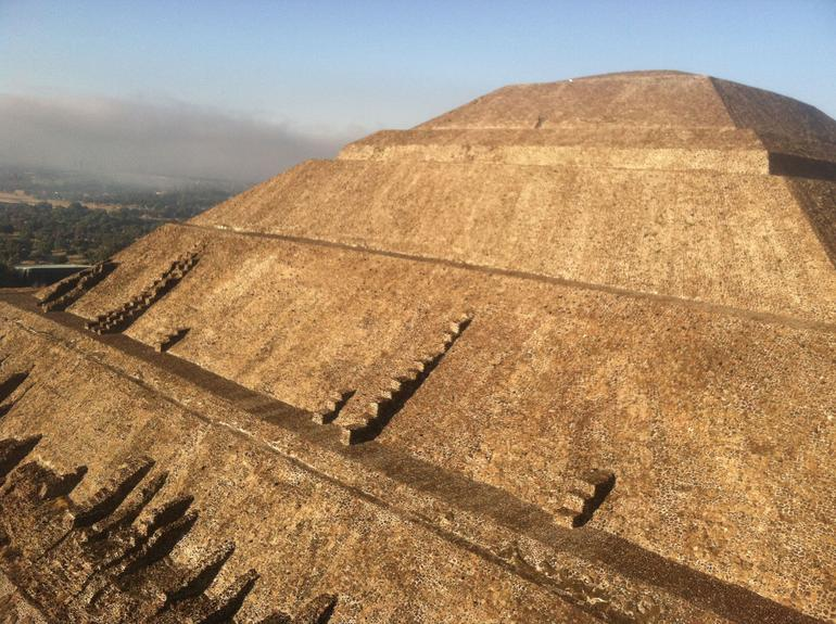 Close-up above the pyramids - Mexico City