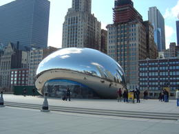 The Cloud Gate sculpture, also called The Bean, in Millennium Park, part of larger Grant Park, Chicago , Leah - May 2011
