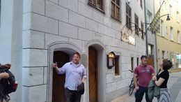 Our guide, Austin, in front of the Beer Museum at the start of our tour , burly58 - June 2015