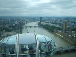 View of the river Thames west from the top of the London Eye, Kos R - August 2009