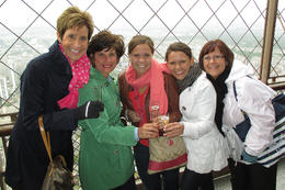 Making friends at the Sommet! Toasting to the joy of travel! , Kristin C - May 2013