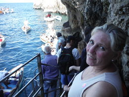 Waiting in line to get into the Blue Grotto , Lorrie K - June 2015