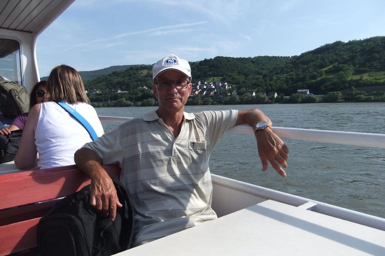 Mario enjoying a boat ride on the Rhine River during Heidelberg and Rhine Valley Tour from Frankfurt
