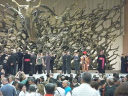 The Swiss guard and Cardinals on the stage in the Papal Hall , Maureen A - June 2012