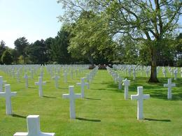 This is the American cemetery. Marble headstones., Steve G - August 2009