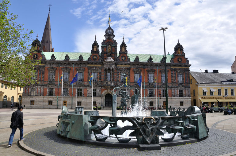 The old city hall and fountain in the square at Malmo, built in 1546.