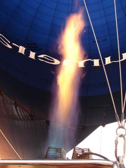 One of the four burners lit in our balloon, Paul M - June 2009