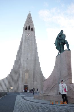 Leif Erikson and my wife! in front of Reykjavik cathedral , Nicholas R - November 2015