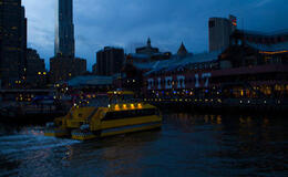 Photo of New York City Viator VIP: NYC Night Helicopter Flight and Statue of Liberty Cruise Water Taxi arriving at South Street Seaport