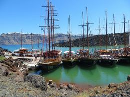 At Nea Kameni these boats were waiting for the tourists, who went to climb up on the volcano. , Fabiola G S - May 2015