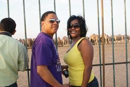 Standing in front of the camel farm gate, Tracey B - November 2010