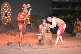 Aboriginals trying to make fire by rubbing dry sticks.. pretty tough task.. they finally succeeded , aaritu - November 2015