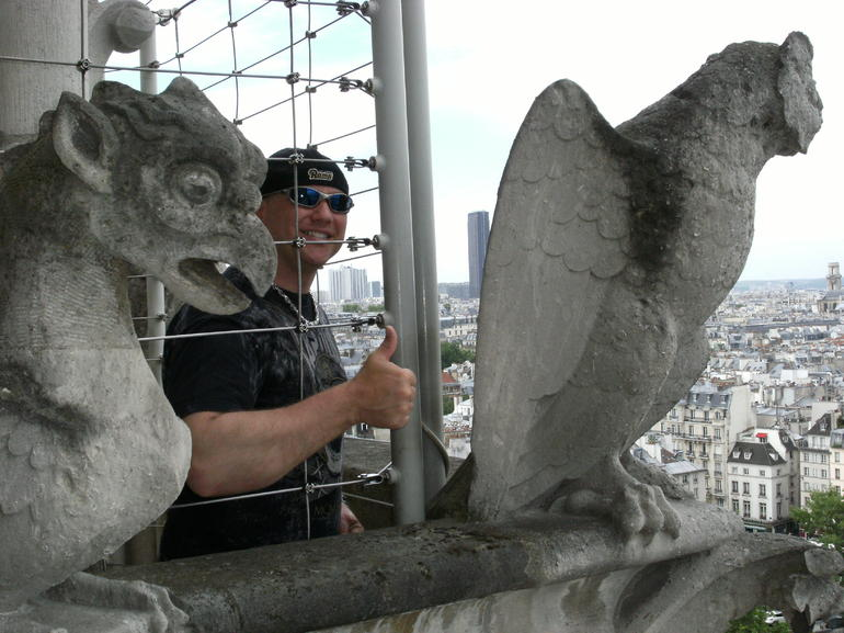 James enjoying the Gargoyles - Paris