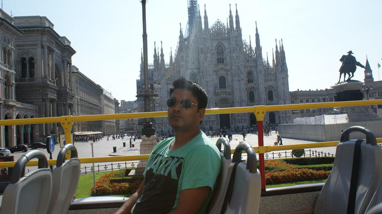 Milan City view from hop-on hop-off tour bus - Milan