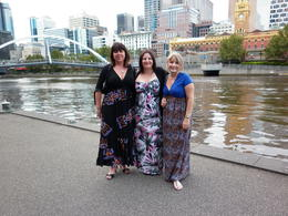tami,karen,julie.waiting for dinner cruise boat , Carol D - May 2011