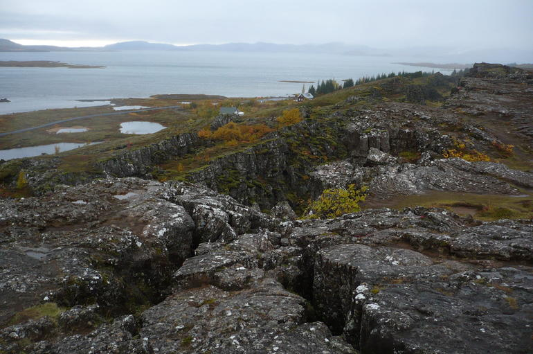 the great tectonic rift and the great mountain lake seen from afar - Reykjavik