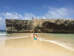 Very beautiful , wavy beach. Some brave people were climbing up the cliff and jumping off , KRISTEN G - January 2016