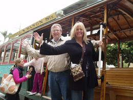 Photo of   Riding a cable car in San Francisco - having a blast!!!