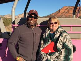 Photo of Sedona & Flagstaff Diamondback Gulch Jeep Tour This is my mom with Alberto at a stop along the tour for a photo op.