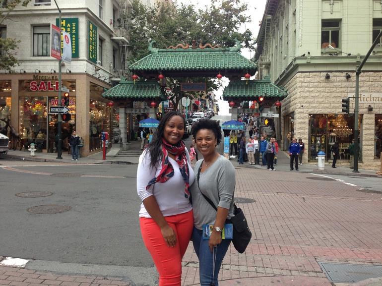 My friend and I at the China Gate in Chinatown. A great stop on the tour.