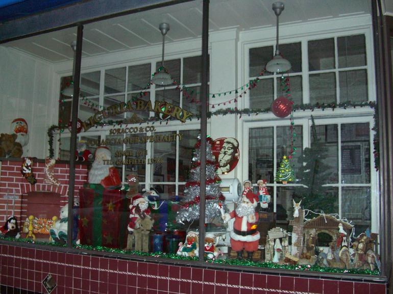 Holiday window dressing, Liguria Bakery, North Beach - San Francisco