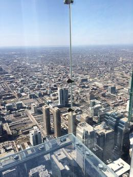 View from the glassed in ledge at Skydeck Chicago in Willis Tower., laura s - June 2014