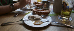 eating weisswurst at a local beer house , TimStubbs - August 2013