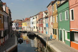 getting ready to dock in Burano , Sue - July 2013