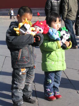 Beijing kids with Olympic mascots, Bing - May 2012