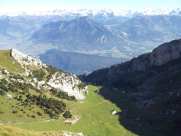 You can see the cogwheel train tracks down below and the Swiss Alps straight ahead! , Hande B. - October 2011