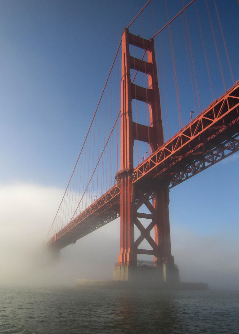 The Golden Gate Bridge emerging from the mist - San Francisco