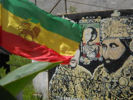 This is a picture of the Ethiopian Flag and Haile Selassie , jaimesenesi - July 2013